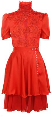 Jiri Kalfar Red Blouse With Short Sleeves & Red Silk Layered Skirt