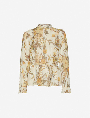 Reiss Alandra high-neck ruffled floral-print chiffon blouse