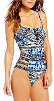 Kenneth Cole Reaction Indigo-Go-Girl Cut-Out Bandeau One-Piece