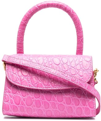 BY FAR Mini Crocodile-Embossed Tote Bag