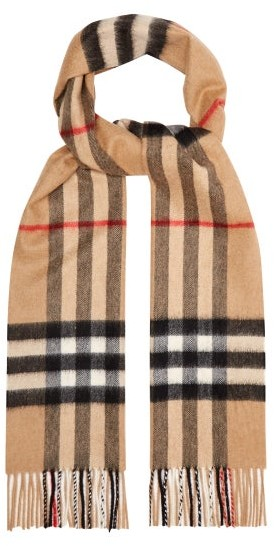 Burberry Giant Check Cashmere Scarf - Womens - Beige