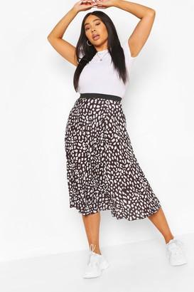 boohoo Plus Pastel Leopard Pleated Midi Skirt