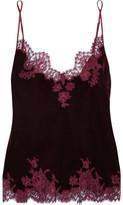 I.D. Sarrieri Rose Imperial Chantilly Lace-trimmed Velvet Camisole - Burgundy