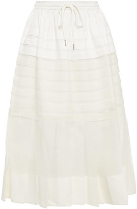 Lee Mathews Callie Pleated Silk-organza And Cotton-poplin Midi Skirt