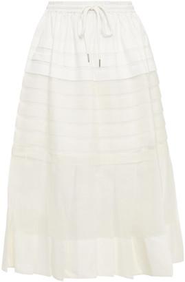 Lee Mathews Callie Pleated Silk-organza And Poplin Midi Skirt