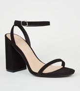 New Look Suedette Skinny Strap Flared Block Heels