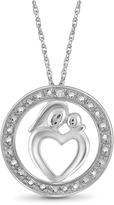 Diamond Sterling Silver Mom and Child Pendant Necklace by JewelonFire