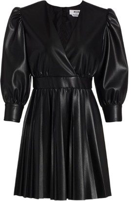 MSGM Faux Leather Puff-Sleeve Mini A-Line Dress