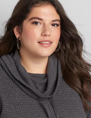 Lane Bryant Pave-Embellished Wrapped Hoop Earrings