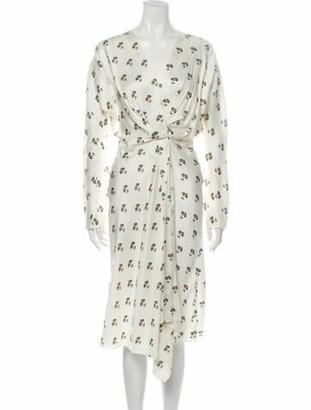 Victoria Beckham Floral Print Midi Length Dress