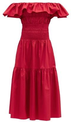 Self-Portrait Off-the-shoulder Shirred Cotton-poplin Midi Dress - Red