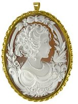 Del Gatto Young Woman Sardonyx Cameo Pendant / Pin