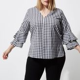 River Island Womens Plus black gingham double bell sleeve top