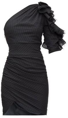 Alexandre Vauthier Gathered One-shoulder Swiss-dot Mini Dress - Womens - Black