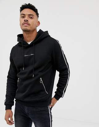 N. Liquor Poker hoodie with metalic sport stripe in black