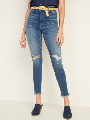 Old Navy High-Waisted Raw-Edge Rockstar Super Skinny Ankle Jeans For Women