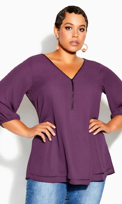 City Chic Sexy Fling Elbow Sleeve Top - orchid