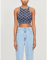 Tommy Jeans Logo-print cropped stretch-jersey top