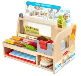 Melissa & Doug Melissa Doug Wooden Slice Stack Sandwich Counter with Deli Slicer - 56-Piece Pretend Play Food Pieces