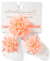 Starting Out Baby Girls Chiffon Flower Headband & Barefoot Sandals Set
