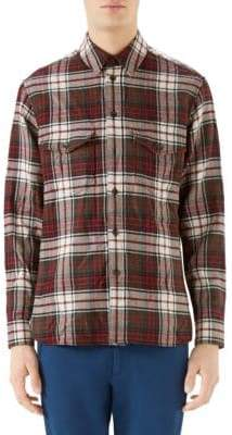Gucci Embroidered Tartan Plaid Shirt