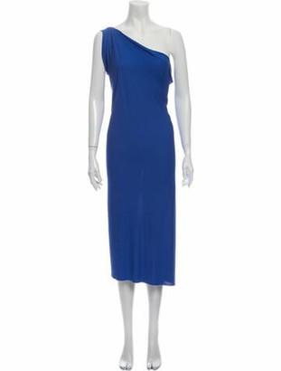 Roland Mouret One-Shoulder Midi Length Dress Blue