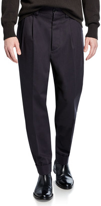 Margaret Howell Men's Pleated-Front Tapered Trousers