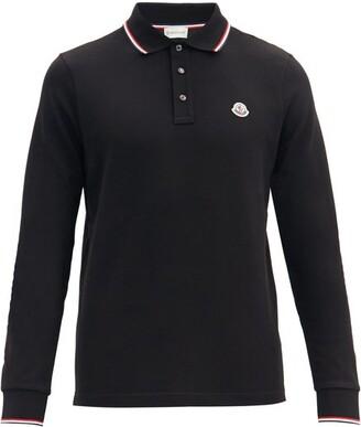 Moncler Logo Cotton-pique Long-sleeved Polo Shirt - Black
