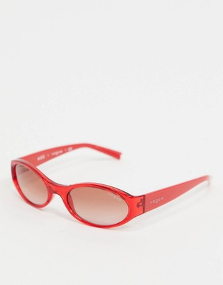Vogue x Millie Bobby Brown red round sunglasses