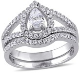 2 3/4 CT. T.W. Pear-shape Cubic Zirconia Halo Split Shank Bridal Set in Sterling Silver