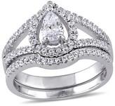 Allura 2 3/4 CT. T.W. Pear-shape Cubic Zirconia Halo Split Shank Bridal Set in Sterling Silver