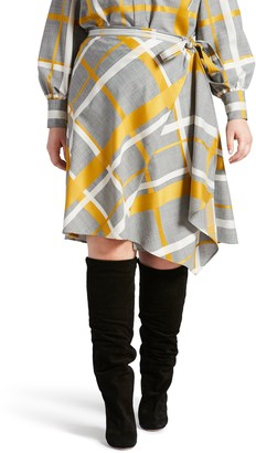 Pari Passu Plaid Wool Blend Wrap Skirt