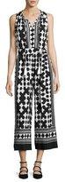 Kate Spade Lantern Sleeveless Silk Quatrefoil Jumpsuit, Black/White