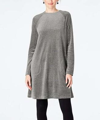 J. Jill J.Jill Women's Casual Dresses DARKGRYHTH - Dark Gray Pure Jill Velour Crewneck Shift Dress - Women & Petite