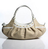 Cole Haan Beige White Woven Straw Leather Large Satchel Handbag