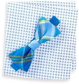 Original Penguin Morey Plaid Bow Tie & Pocket Square Set