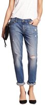 Banana Republic Women's Low Rise Cuffed Destructed Girlfriend Jeans