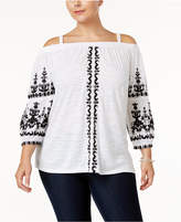 INC International Concepts Plus Size Embroidered Off-The-Shoulder Top, Only at Macy's