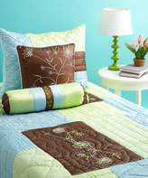 Bacati Botanika Brown, Blue and Lime Twin Quilt
