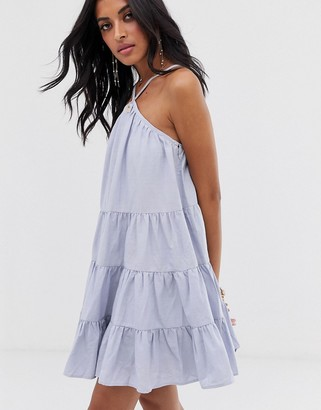 Lost Ink cami swing dress with tiered volume skirt-Blue