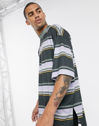 Asos Design DESIGN oversized striped t-shirt with turtleneck and dropped hem and side splits-Black