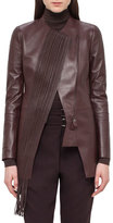 Akris Woven-Panel Leather Long Jacket, Aubergine