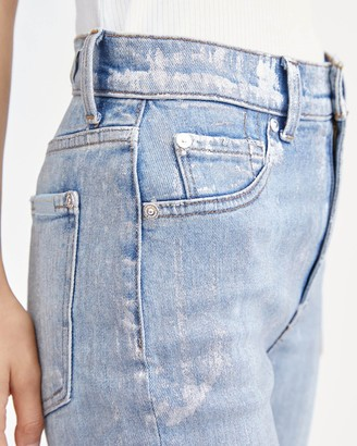 7 For All Mankind Coated High Waist Ankle Skinny in Aspen Foil