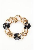 NEW DESIGNER 14kt Yellow Gold Black Ceramic Chain Link Bracelet $2400