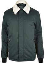 River Island MensDark green fleece collar harrington jacket