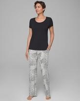 Cool Nights Short Sleeve Pajama Set Exotic Spots W Black RG