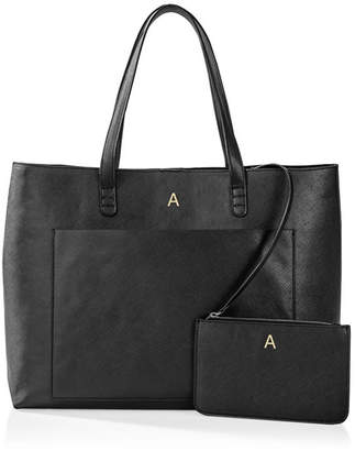 Cathy's Concepts Cathy Concepts Personalized Vegan Saffiano Leather Tote And Clutch Set