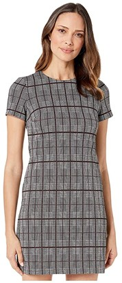 Calvin Klein Plaid Short Sleeve T-Shirt Body Dress (Black/Cream) Women's Dress