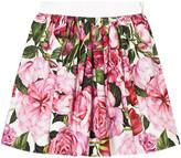 Dolce & Gabbana Pink Rose Print Cotton Skirt
