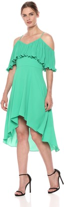 Halston Women's Sleeveless V Neck Gown with Pleated Flounce Top